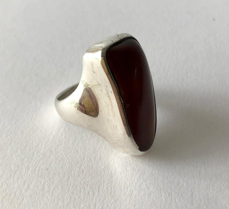 Men's Fred Skaggs Sterling Silver Amber Arizona Modernist Gentlemens Ring For Sale