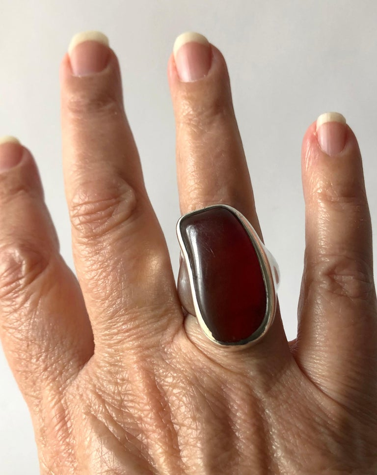 Fred Skaggs Sterling Silver Amber Arizona Modernist Gentlemens Ring For Sale 2