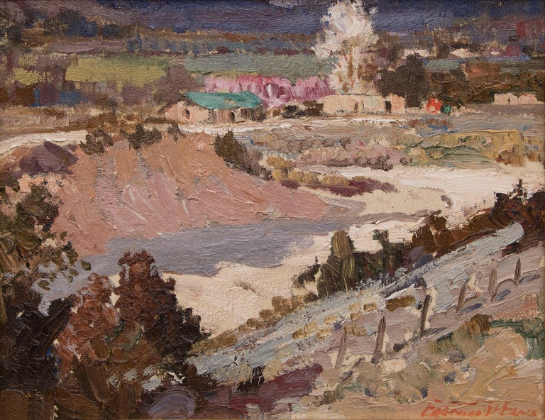 Velarde Valley (New Mexico Landscape with Adobes) - Painting by Fremont Ellis
