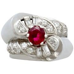 French 0.90 Carat Ruby and 0.48 Carat Diamond, Platinum Ring Circa 1940