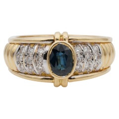 French 1.0 Carat Natural Sapphire .35 Carat Diamond Late Midcentury Unique Ring