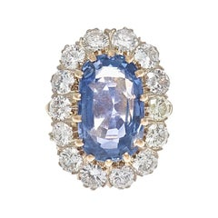 French 10.23 Carat Natural Ceylon Sapphire Diamond Gold Ring