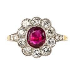 French 1.05 Carat Ruby Diamonds 18 Karat Yellow Gold Platinum Cluster Ring