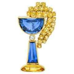 French 13.60 Carat Sapphire Diamond 18 Karat Gold Goblet Brooch