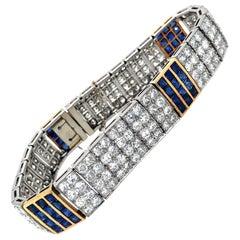 French 14 ct Diamonds and 5.76 ct Blue Sapphire Platinum 18 kt Art Deco Bracelet