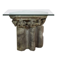 French 13/14th Century Sandstone Gothic Column Fragments Table