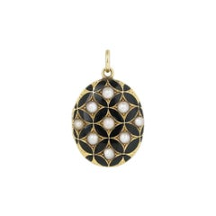 French 15 Karat Black Enamel and Natural Pearl Oval Locket
