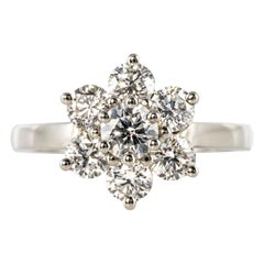 French 1.53 Carat Diamond Platinum Daisy Ring