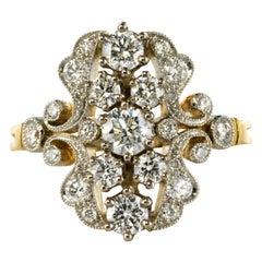 French 1.65 Carat Diamond Platinum Yellow Gold Garden Ring