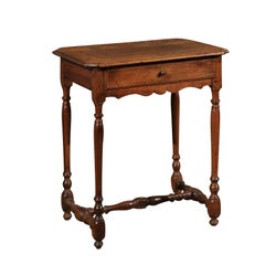 French 1680s Louis XIII Style Carthusian Walnut Side Table with Turned Legs