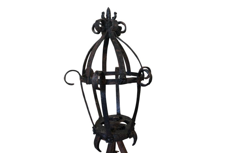 Painted French 16th Century Torchere, Standing Lantern For Sale