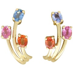 French 1.72 Carat Topaz and Sapphire Yellow Gold Stud Earrings