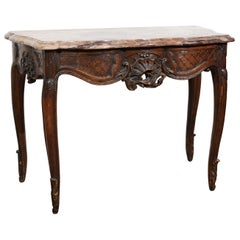 French 1720s Régence Period Walnut Console Table with Original Marble Top