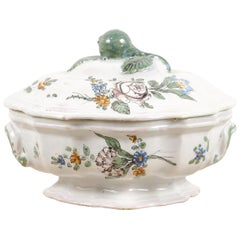 French 1750s Faience Oval Shaped Soup Tureen from Bordeaux with Floral Decor