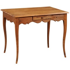 French 1750s Louis XV Period Cherry Table with Single Drawer and Scalloped Apron