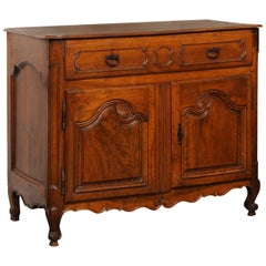 French 1750s Louis XV Walnut Provençal Buffet with Single Drawer and Two Doors