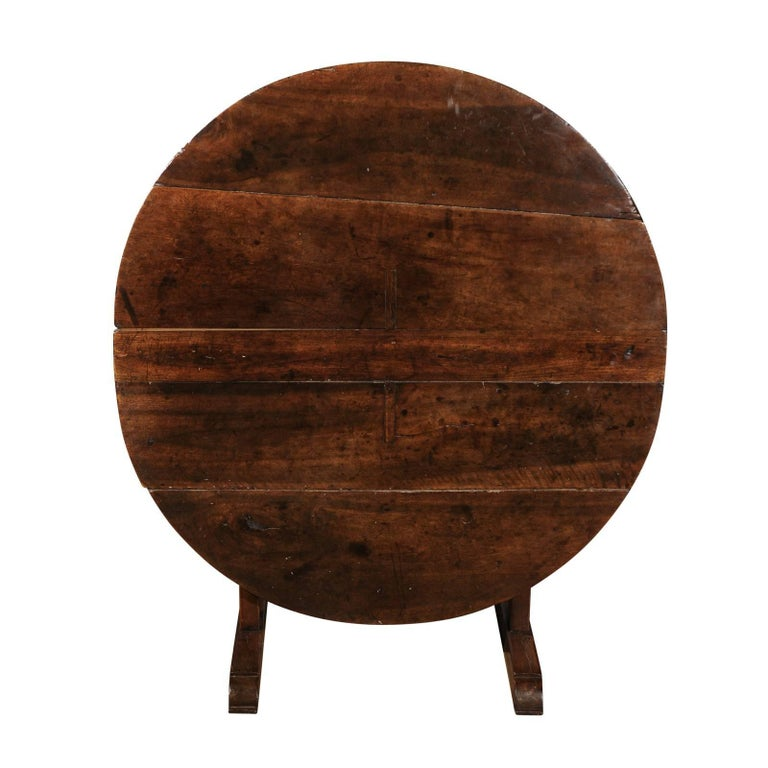 French 1750s Round Tilt-Top Wine Tasting Table with Trestle Base and Wedge