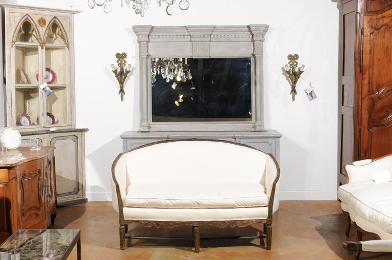 Carved French 1780s Louis XVI Period Painted Sofa from Provence with New Upholstery For Sale