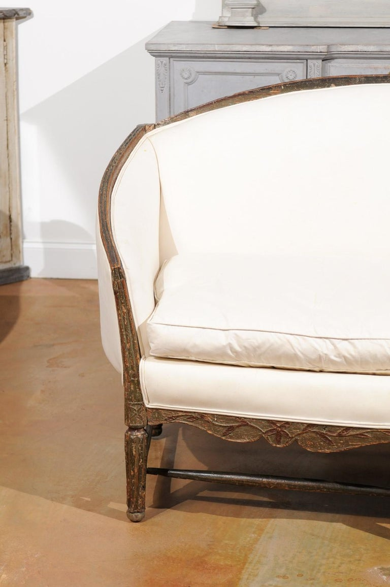 French 1780s Louis XVI Period Painted Sofa from Provence with New Upholstery In Good Condition For Sale In Atlanta, GA