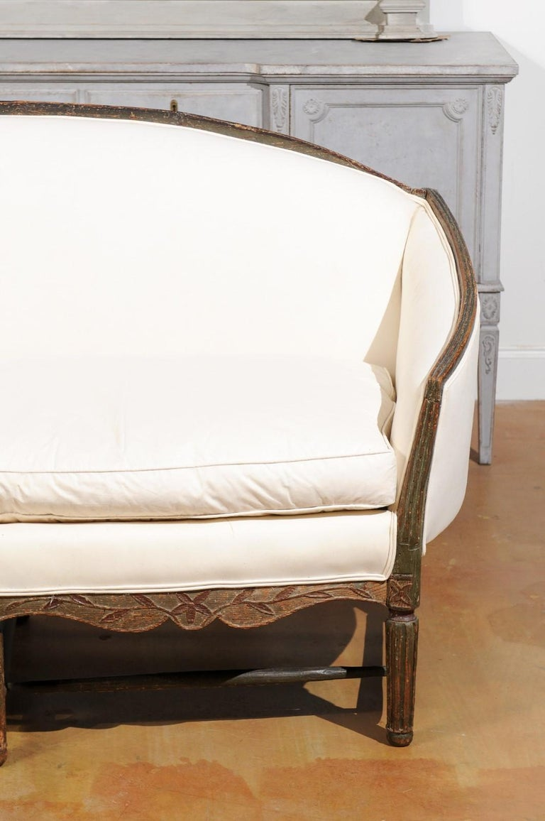 18th Century French 1780s Louis XVI Period Painted Sofa from Provence with New Upholstery For Sale