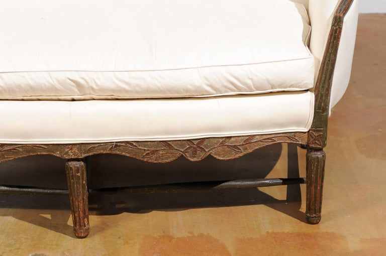 Wood French 1780s Louis XVI Period Painted Sofa from Provence with New Upholstery For Sale