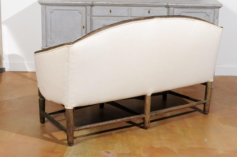 French 1780s Louis XVI Period Painted Sofa from Provence with New Upholstery For Sale 3