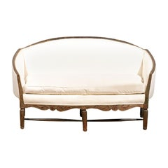 French 1780s Louis XVI Period Painted Sofa from Provence with New Upholstery
