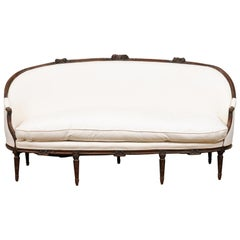 French 1780s Louis XVI Period Walnut Canapé en Corbeille with New Upholstery