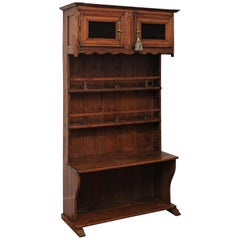 French 1780s Walnut Égouttoir Cabinet with Small Doors, Chicken Wire and Shelves