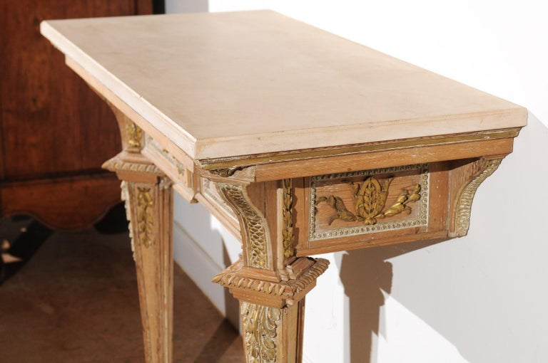 French 18th Century Louis XVI Console Table with Hand Carved, Parcel-Gilt Décor For Sale 4