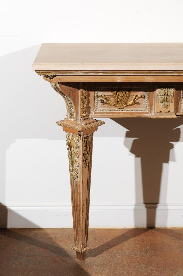 French 18th Century Louis XVI Console Table with Hand Carved, Parcel-Gilt Décor In Good Condition For Sale In Atlanta, GA