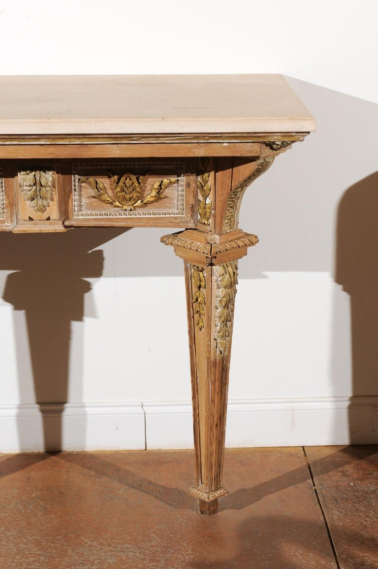 18th Century and Earlier French 18th Century Louis XVI Console Table with Hand Carved, Parcel-Gilt Décor For Sale