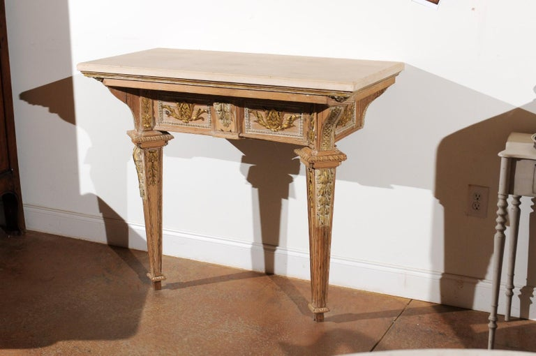 Wood French 18th Century Louis XVI Console Table with Hand Carved, Parcel-Gilt Décor For Sale