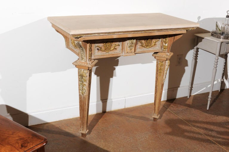 French 18th Century Louis XVI Console Table with Hand Carved, Parcel-Gilt Décor For Sale 1