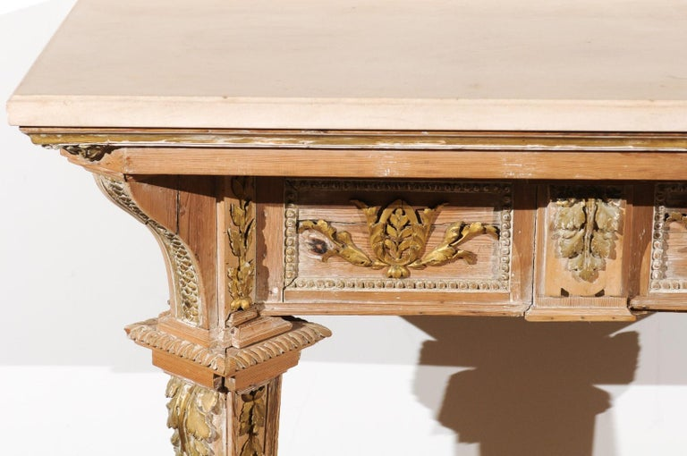 French 18th Century Louis XVI Console Table with Hand Carved, Parcel-Gilt Décor For Sale 2