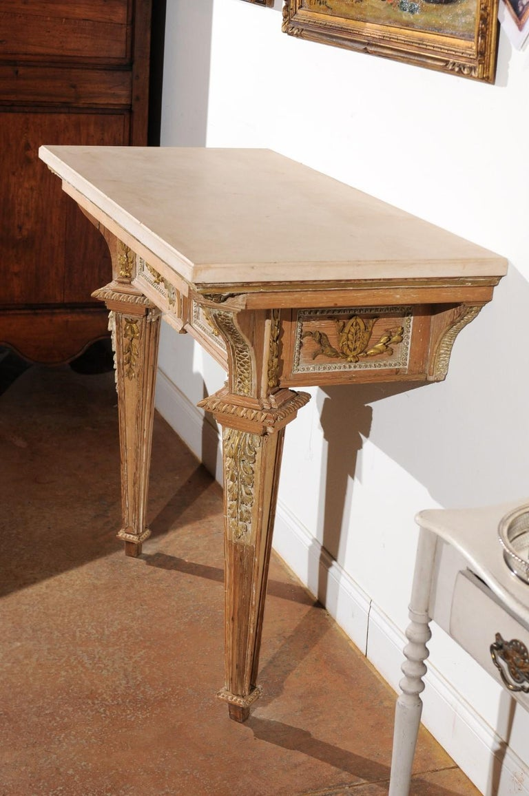 French 18th Century Louis XVI Console Table with Hand Carved, Parcel-Gilt Décor For Sale 3
