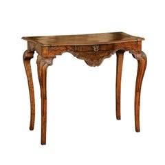 French 1790s Louis XV Style Walnut and Elm Writing Table with Single Drawer