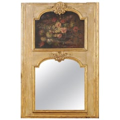 French 1790s Painted Trumeau Mirror with Original Oil on Canvas Floral Painting