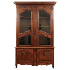 French 1790s Walnut Buffet à Deux-Corps with Glass Doors and Carved Motifs