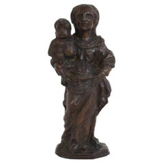 French 17th-18th Century Baroque Wooden Madonna with Child
