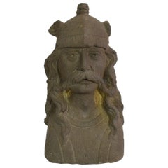 French 17th/18th Century Carved Stone Bust of Celtic Warrior/ Gallic King