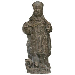 French, 17th Century Carved Stone Statue of Saint Nicholas