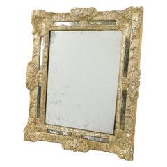 French 17th Century Louis XIV Silver Leaf Parclose Mirror