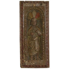 French 17th Century Oak Panel with Saint
