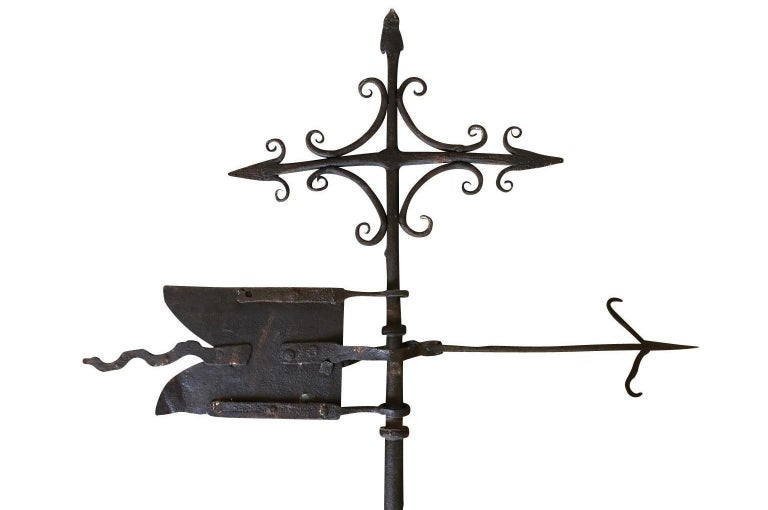 A wonderful mid-17th century Girouette, weather vane, beautifully crafted from iron. A wonderful motif of a flag and arrows.