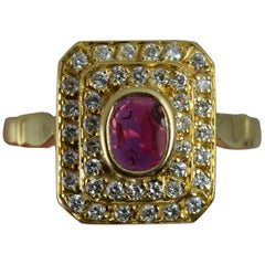 French 18 Carat Gold Ruby and Diamond Cluster Ring