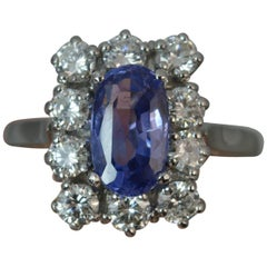 French 18 Carat White Gold Ceylon Sapphire and Diamond Cluster Ring