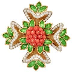 French 18 Karat Enamel, Pearl, Coral, Maltese Cross Flower Brooch Pendant