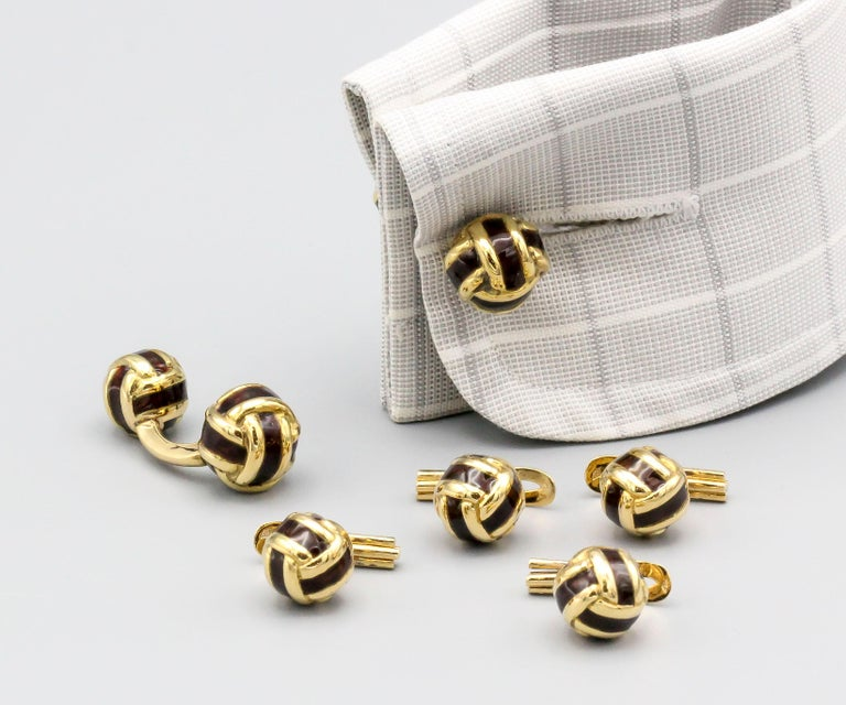 Men's French 18 Karat Gold and Enamel Knot Cufflink Stud Set For Sale