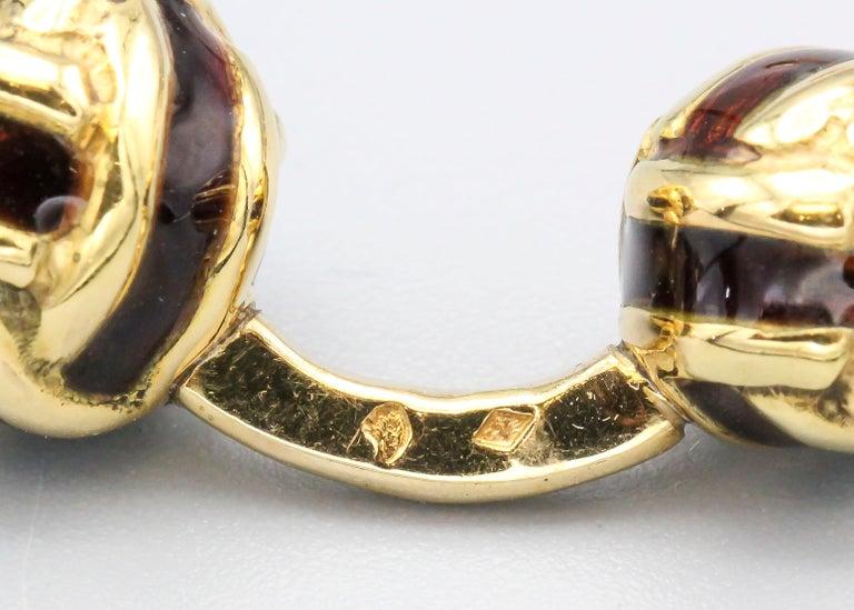 French 18 Karat Gold and Enamel Knot Cufflink Stud Set For Sale 1